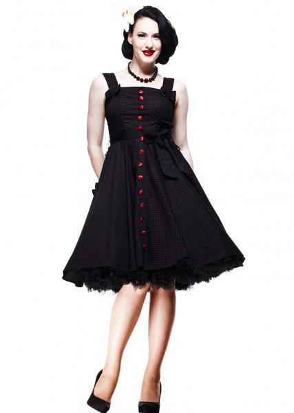 Hell Bunny - Gery 50s Polka Dot Damen Kleid (Rot)