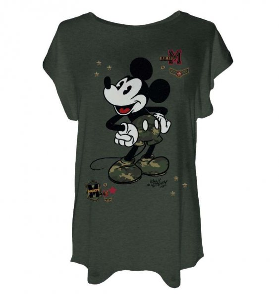 Walt Disney Mickey Mouse Military Damen T-Shirt Oversize Oliv