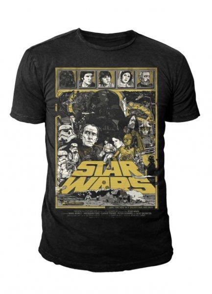 Star Wars - Krieg der Sterne Herren T-Shirt - Poster (Schwarz)
