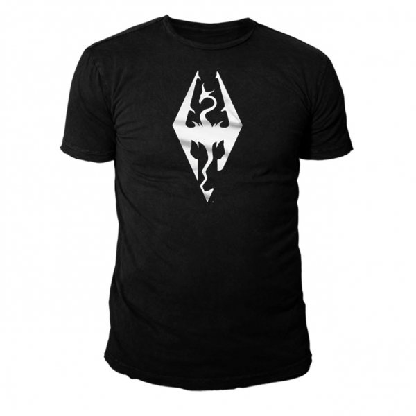 The Elder Scrolls Skyrim Runen Logo T-Shirt Herren Schwarz