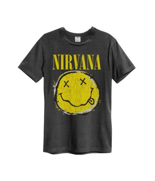 Amplified Nirvana Worn Out Smiley Logo Vintage Herren T-Shirt