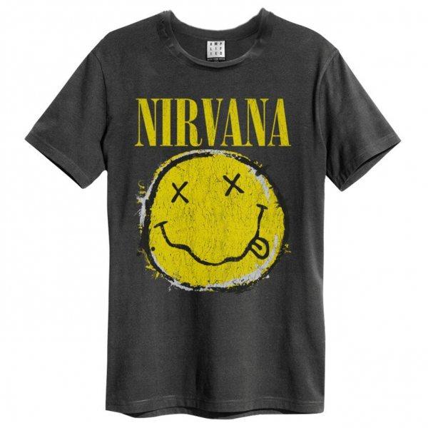 Amplified Nirvana Worn Out Smiley Herren T-Shirt Vintage