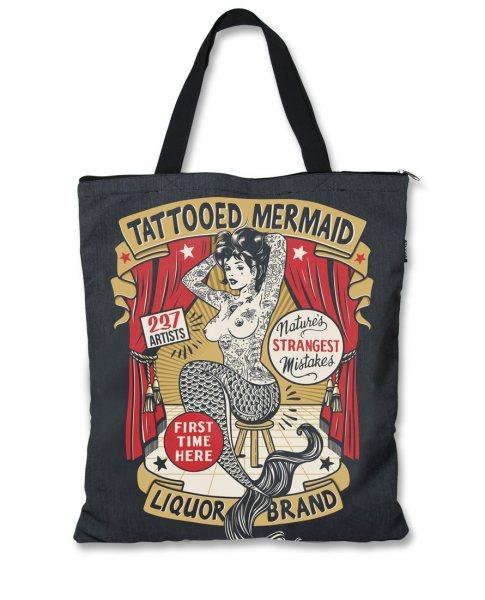 Liquor Brand Tattooed Mermaid Shopper Tasche