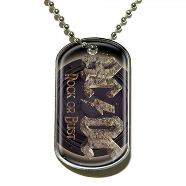AC DC Kette Dog Tag Rock or Bust Logo