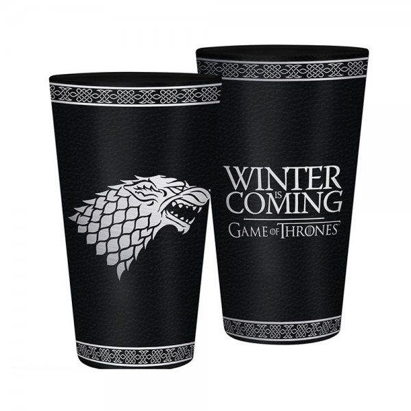 Game of Thrones Stark Trinkglas Winter is Coming Schwarz