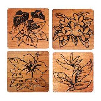 Tiki Untersetzer - Tropical Flower 4er Set