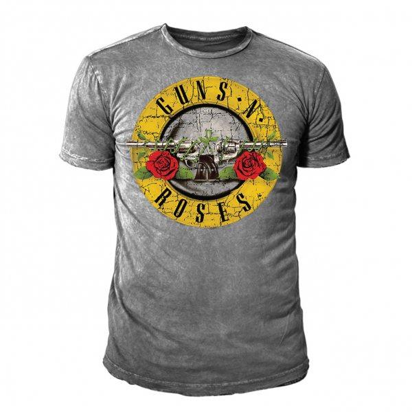 Guns n Roses Drum Logo Vintage T-Shirt Herren Grau