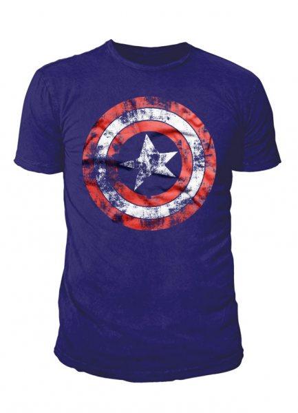 Captain America Shield Herren T-Shirt Navy