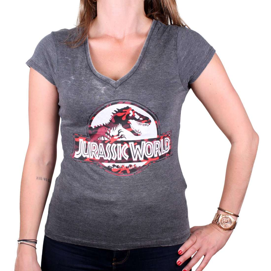 Jurassic World Logo T Shirt Damen Grau