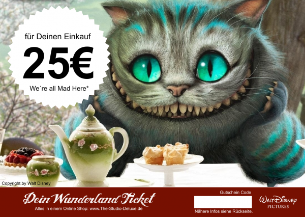 The Studio Deluxe Alice im Wunderland Geschenk Gutschein Geschenkkarte 25 Euro