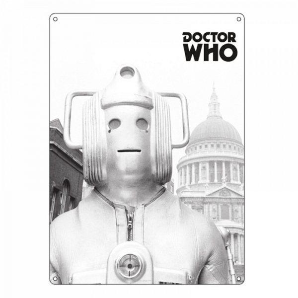 Doctor Who - Blechschild - Greyscale Cyberman
