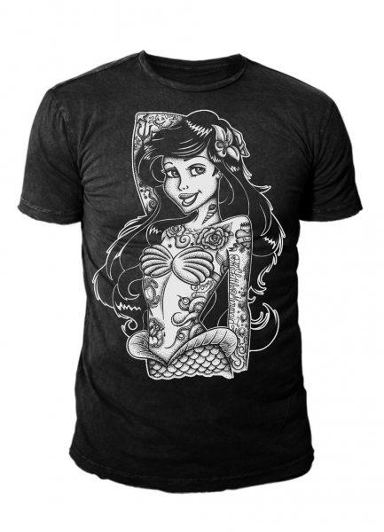 Twisted Arielle Meerjungfrau Inked Princess Tattoo Herren T-Shirt