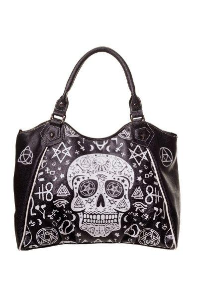 Banned - Pentagramm Skull Damen Henkeltasche