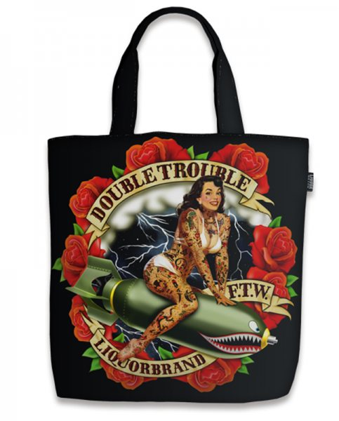 Liquor Brand Double Trouble Pin Up Girl Damen Shopper Tasche