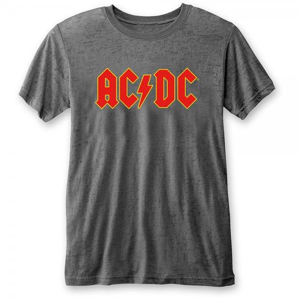 ACDC Logo Rock Burnout T-Shirt Herren Grau