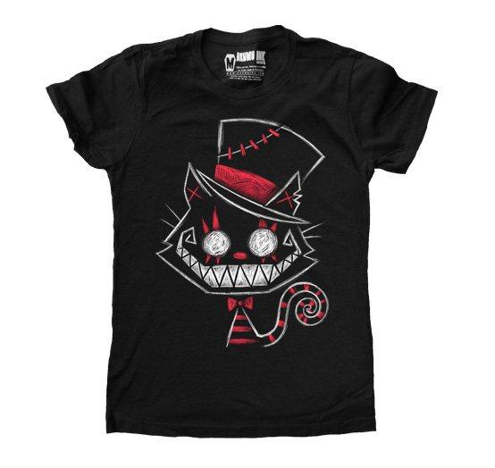 Akumu Ink Chesire Cat Damern T-Shirt Schwarz