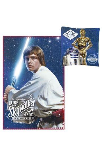 Star Wars Luke Skywalker C3PO Droiden Fleecedecke und Kissen Set