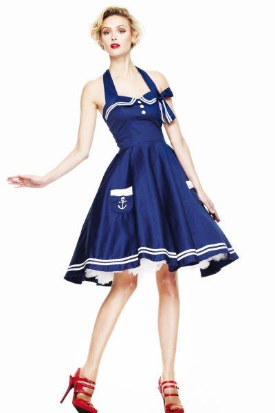 Hell Bunny - Motley Sailor 50s Damen Kleid (B/W)