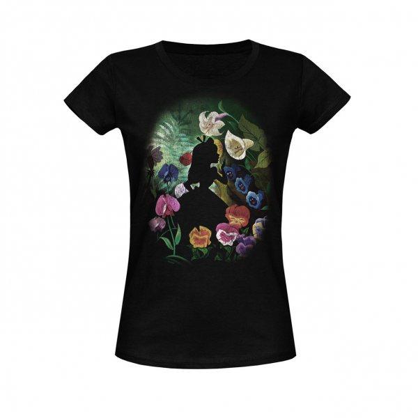 Alice im Wunderland Flowers T-Shirt Damen Schwarz