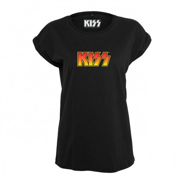 Merchcode Kiss Logo Damen T-Shirt Schwarz