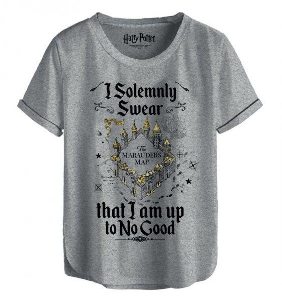 Harry Potter Karte des Rumtreibers Oversize Damen T-Shirt Grau