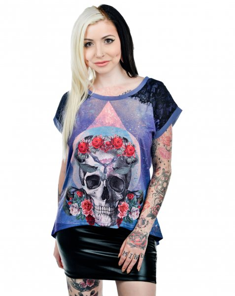 Too Fast Brand Trinity Oversize Skull Damen Shirt