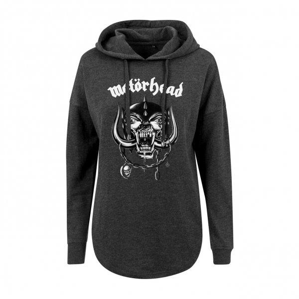 Merchcode Motörhead Warpig Logo Damen Kapuzenpullover Hoody Grau
