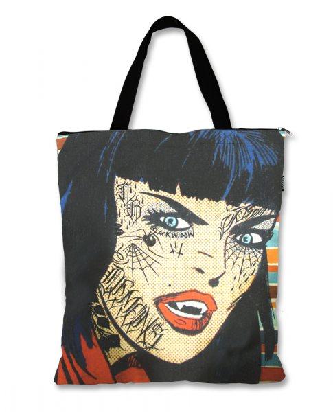 Liquor Brand Vampir Black Widow Damen Shopper Tasche