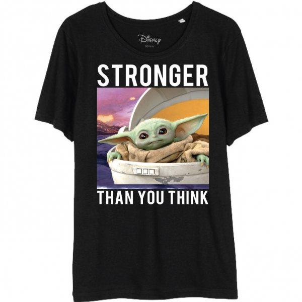 Star Wars The Mandalorian Baby Yoda Child Stronger Damen T-Shirt  Schwarz