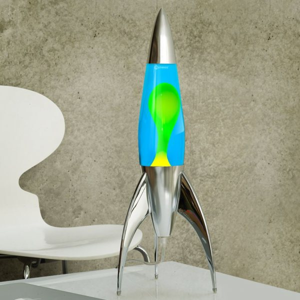 Mathmos Telstar Raketen Lavalampe Blau Gelb