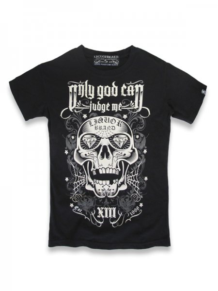 Liquor Brand God Skull Tattoo Herren T-Shirt