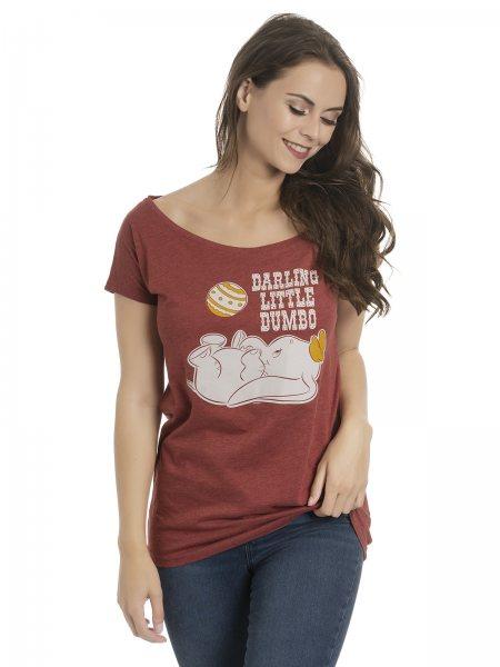 Walt Disney Dumbo Little Darling Oversize Damen T-Shirt Bordaux