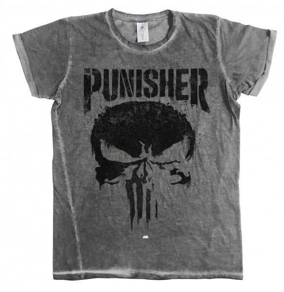 Marvel Comics Punisher Skull Logo Vintage Acid Wash Herren T-Shirt