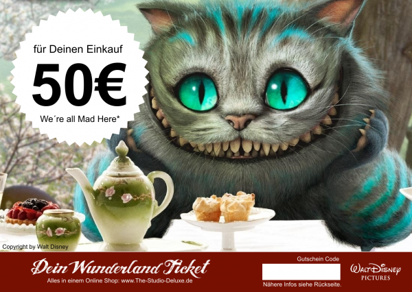 The Studio Deluxe Alice im Wunderland Geschenk Gutschein Geschenkkarte 50 Euro