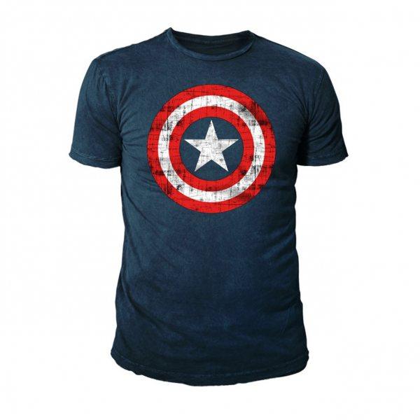 Marvel Captain America Logo Herren T-Shirt Navy