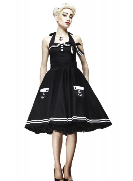 Hell Bunny - Motley 50s Sailor Damen Kleid (S/W)