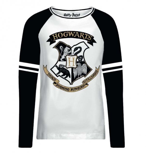 Harry Potter Hogwarts Logo Wappen Longesleeve Damen Schwarz Weiss