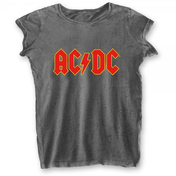 ACDC Logo Oversize Burnout Damen T-Shirt Grau