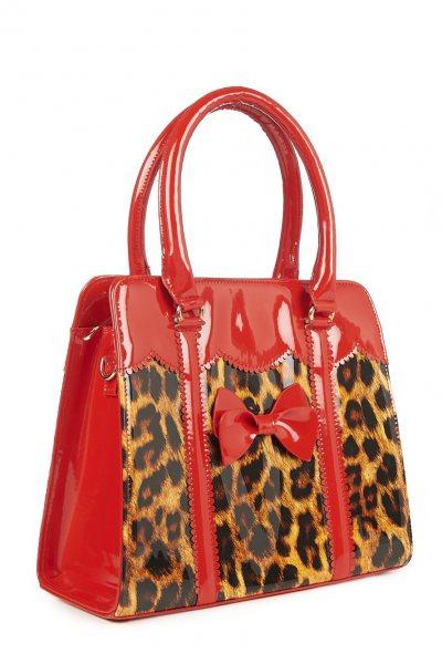 Banned Pin Up 50s Leoparden Rockabilly Damen Henkeltasche Handtasche