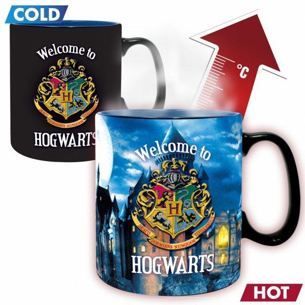 Harry Potter Hogwarts Logo Thermoeffekt Tasse 460 ml in Geschenkbox